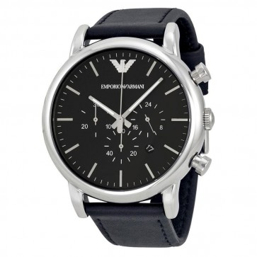 Emporio Armani Men's Chronograph Watch Black Leather Strap Black Dial AR1828