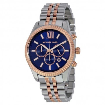 Michael Kors Lexington Mens Chronograph Watch Stainless Steel Bracelet Blue Dial MK8412