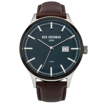 Ben Sherman Mens Gents Wrist Watch Brown Strap Black Face WB056BR