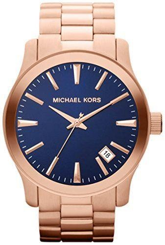 Michael Kors Ladies Runway Watch Rose Gold PVD Bracelet Blue MK7065
