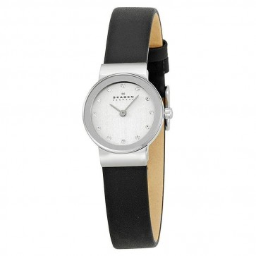 Skagen Ladies Quartz White Dial Black Leather Strap Watch 358XSSLBC