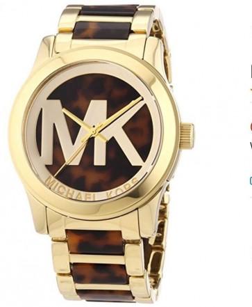 Michael Kors Ladies Runway Wrist Watch Tortoiseshell Dial Gold Strap MK5788