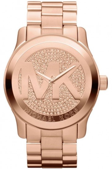 Michael Kors Oversized Rose Golden Stainless Steel Runway Three-hand Glitz Watch Mk5661