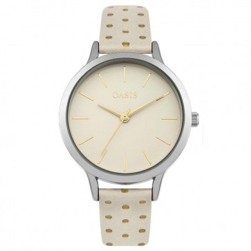 Oasis Ladies Watch Leather Strap White Dial B1601
