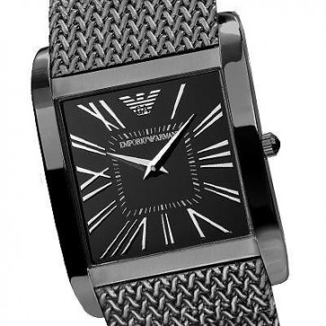 Emporio Armani Ladies Watch Black Ion Plated Mesh Strap Black Dial AR2029
