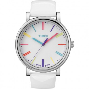 Timex Ladies Indiglo Watch White Strap White Dial T2N791