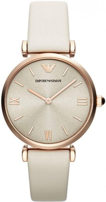 Emporio Armani Ladies Watch White Strap Silver Dial AR1769