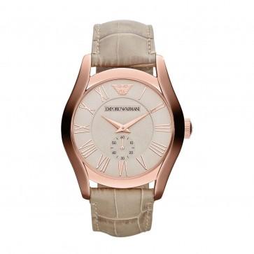 Emporio Armani Mens Watch Rose Gold PVD Case Pink Dial Cream Strap AR1667