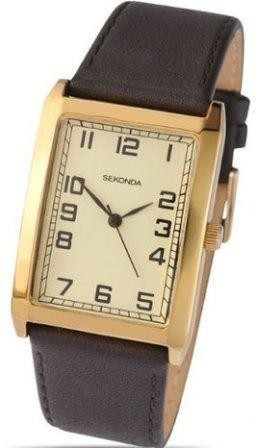 Sekonda Mens Watch Brown Leather Strap Beige Rectangle Dial 3140