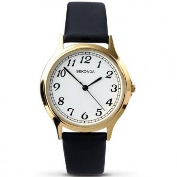 Sekonda Mens Gents Wrist Watch White Face Gold Dial 3134