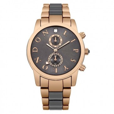 Lipsy Womens Ladies Wrist Watch Grey Face Rose Gold Dial LP358