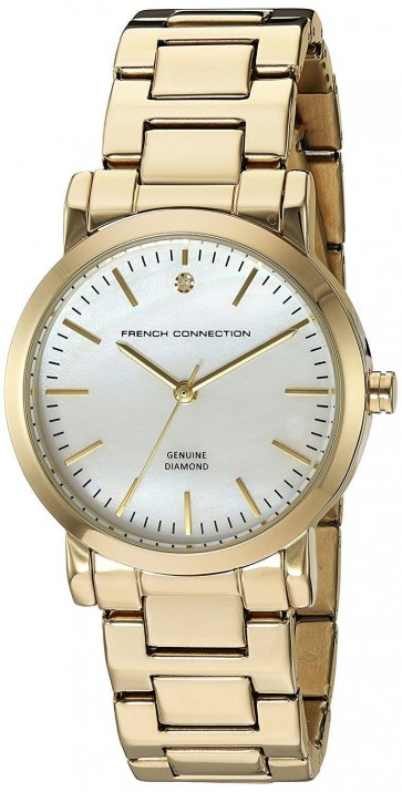French Connection Womens Wrist Watch Goldr Dial Gold Bracelet FC1250GM