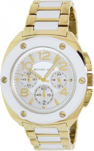 Michael Kors Ladies Tribeca Chronograph Watch White Gold Strap Dial MK5731