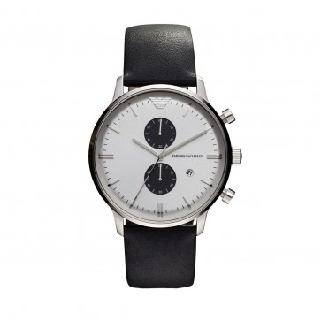 Emporio Armani Mens Chronograph Watch Black Strap White Dial AR0385
