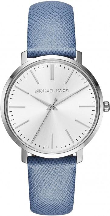 Michael Kors Womens Jaryn Silver Face Blue Leather Strap Wrist Watch MK2495