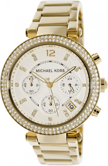 Michael Kors Parker Ladies Chronograph Watch Gold PVD Bracelet Silver Dial MK5354