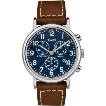 Timex Men's Gent's Quartz Watch With Blue Dial Brown Strap TW2R42600