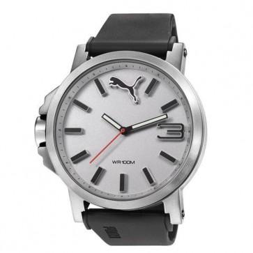 Puma Mens Gents Ultrasize Silver Bezel Black Plastic Strap Wrist Watch