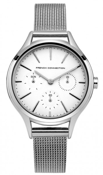 French Connection Womens Ladies Wrist Watch Silver Strap White Face FC1273SM