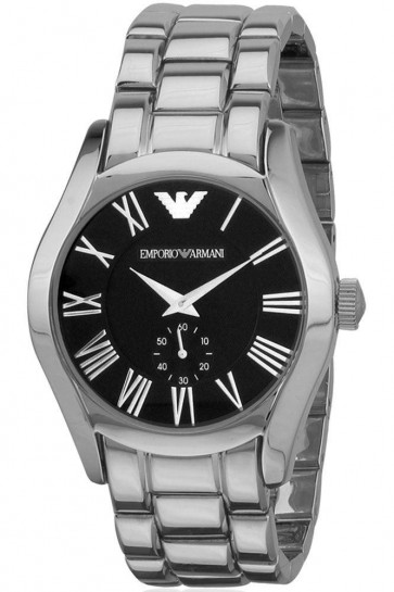 Emporio Armani Mens Watch Stainless Steel Bracelet Black Dial AR0680