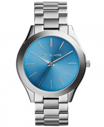 Michael Kors Thin Runway Ladies Watch Stainless Steel Bracelet Blue Dial MK3292