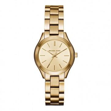 Michael Kors Analog Casual Wrist Watch Mini Slim Runway Gold MK3512