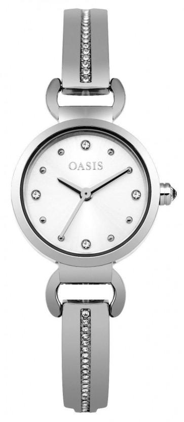 Oasis Womens Ladies Wrist Watch White Face Silver Strap  B1572