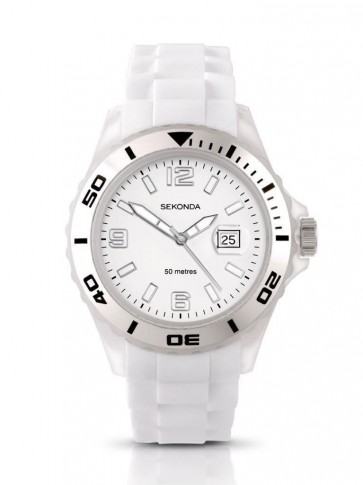 Sekonda Ladies Womens Wrist Watch White Face White Dial Rubber Strap 3362