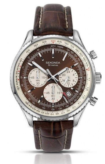 Sekonda Mens Gents Wrist Watch Silver Dial Brown Leather Strap 3407