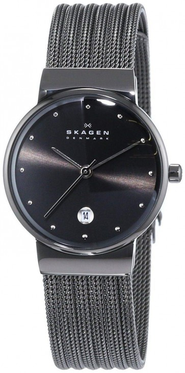 Skagen Ladies Dark Grey Stainless Steel Mesh Watch Grey Dial 355SMM1