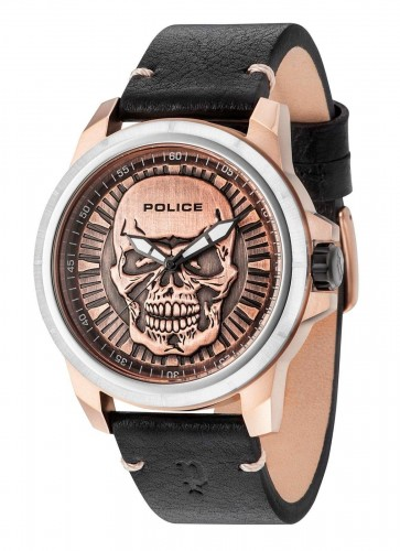 Police Brown Dial BlackLeather Reaper Mens Quartz Watch 14385JSTR/62