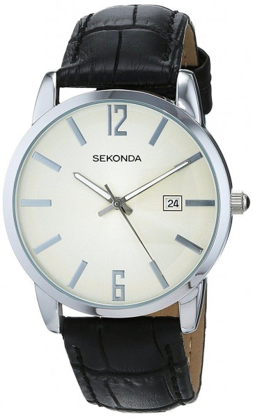 Sekonda Mens Gents Wrist Watch White Face Black Leather Strap 1442