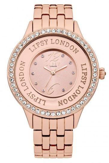 Lipsy Ladies Wrist Watch Pave Glitter Dial Black Strap LP140