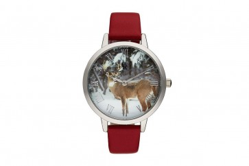Charlotte Raffelli Ladies Watch Stag Design Dial Red Leather Strap CRA004