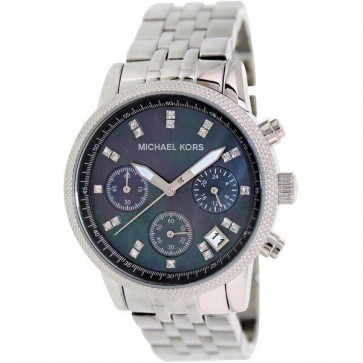 Michael Kors Ladies Chronograph Watch Stainless Steel Bracelet Black Dial MK5021