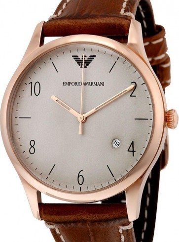 Emporio Armani Mens Gents Watch Brown Leather Strap White Dial AR1866