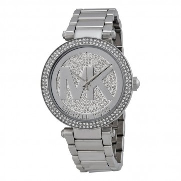 Michael Kors Ladies Parker Watch Stainless Steel Bracelet Silver Crystal Paved Dial MK5925