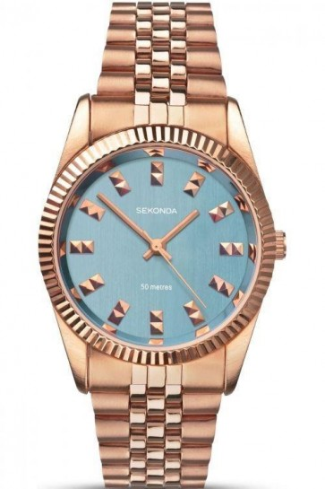 Sekonda Ladies Watch Blue Dial Rose Gold PVD Stainless Steel Case and Bracelet SK2090