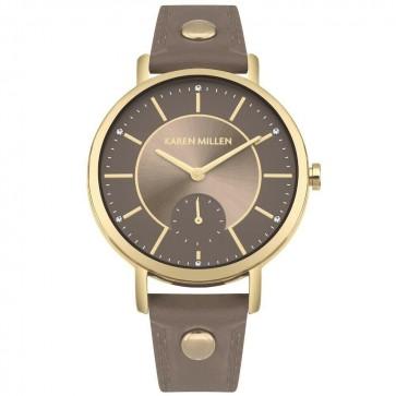 Karen Millen Womens Brown Leather Strap Wrist Watch KM159E
