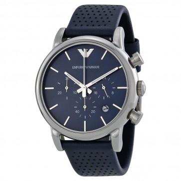 Emporio Armani Mens Chronograph Watch Blue Dial Strap AR1736