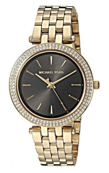 Michael Kors Womens Mini Darci Glitz Wrist Watch Gold Strap Black Face MK3738