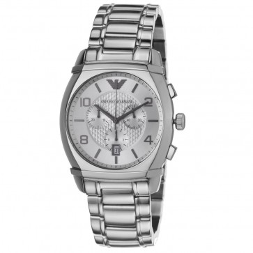 Emporio Armani Mens Chronograph Stainless Steel Bracelet Silver Dial AR0350