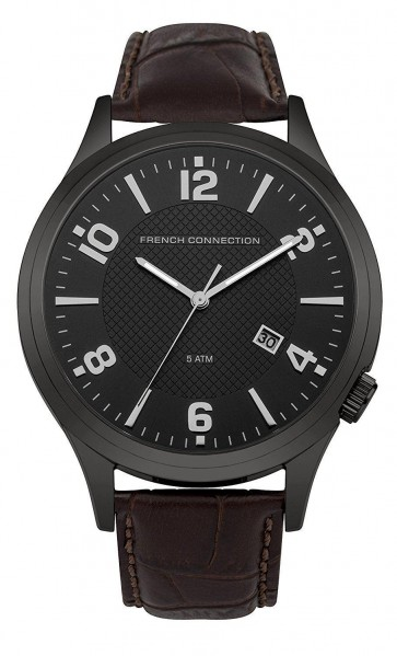 French Connection Mens Gents Watch with Black Dial Brown Leather Strap FC1260TBA