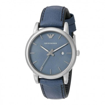 Emporio Armani Mens Wrist Watch Blue Leather Strap Dial AR1972