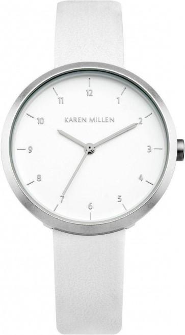 Karen Millen Womens Quartz Watch Dial White Leather Strap KM135W