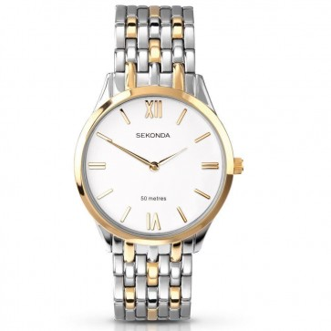 Sekonda Mens Watch Two Tone Stainless Steel White Dial 3349