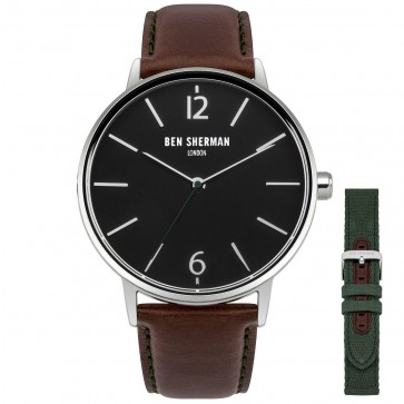 Ben Sherman Mens Gents Wrist Watch Brown Strap Set Black Face WB059BRN