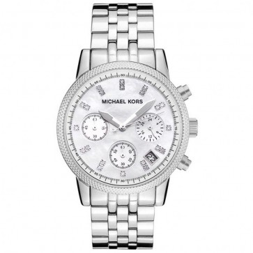 Michael Kors Ladies Ritz Chronograph Watch Stainless Steel Case and Bracelet White Dial MK5020