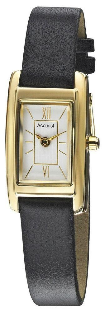 Accurist Ladies Watch White Dial Gold PVD Case Black Leather Strap LS640X
