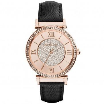 Michael Kors MK2376 Catlin Rose Glitz Crystal-set Black Leather Ladies Watch